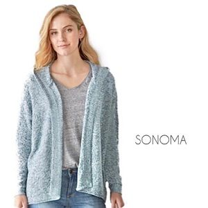 Sonoma | Blue Marble Open Front Hooded Cardigan